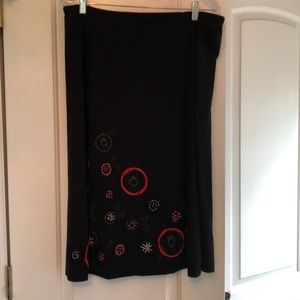 Black JJill skirt with hand embroidered flowers